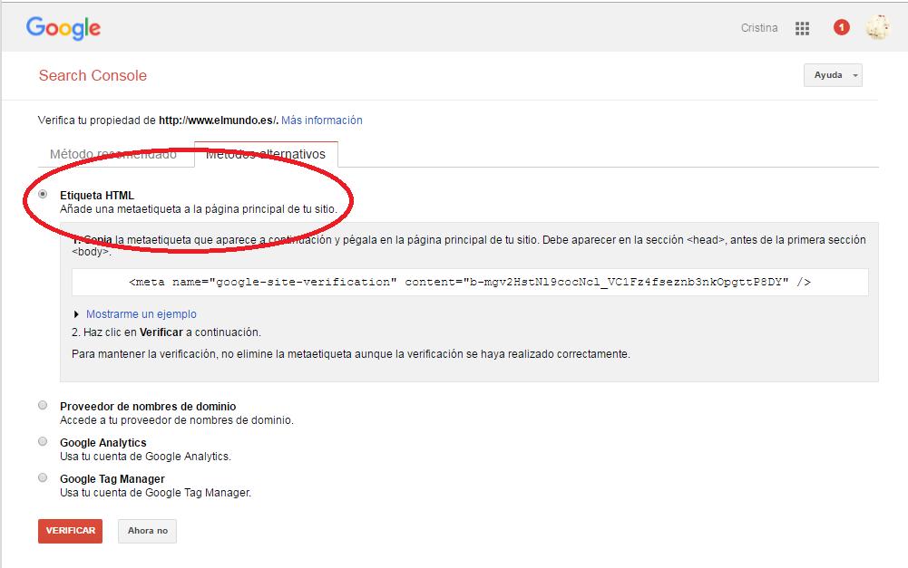 Verificación etiqueta HTML Google Webmaster Tools