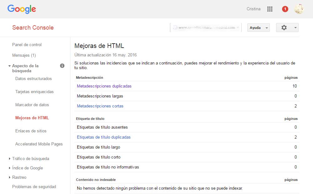 Google Webmaster Tools mejoras de HTML