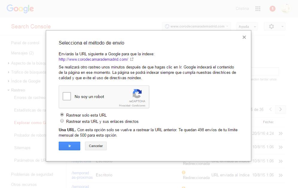 Google Webmaster Tools enviar al índice