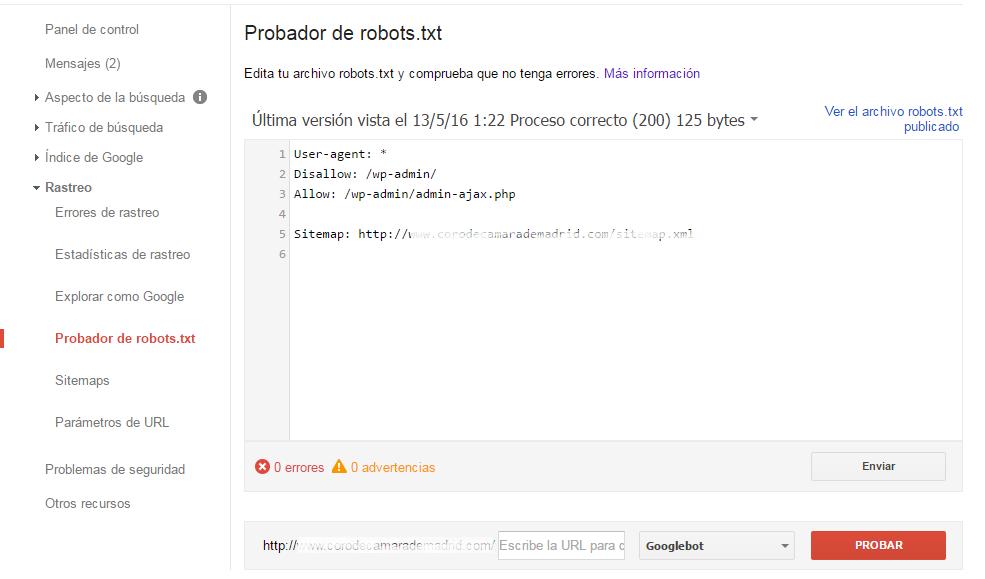 Google Webmaster Tools Probador de robots .txt