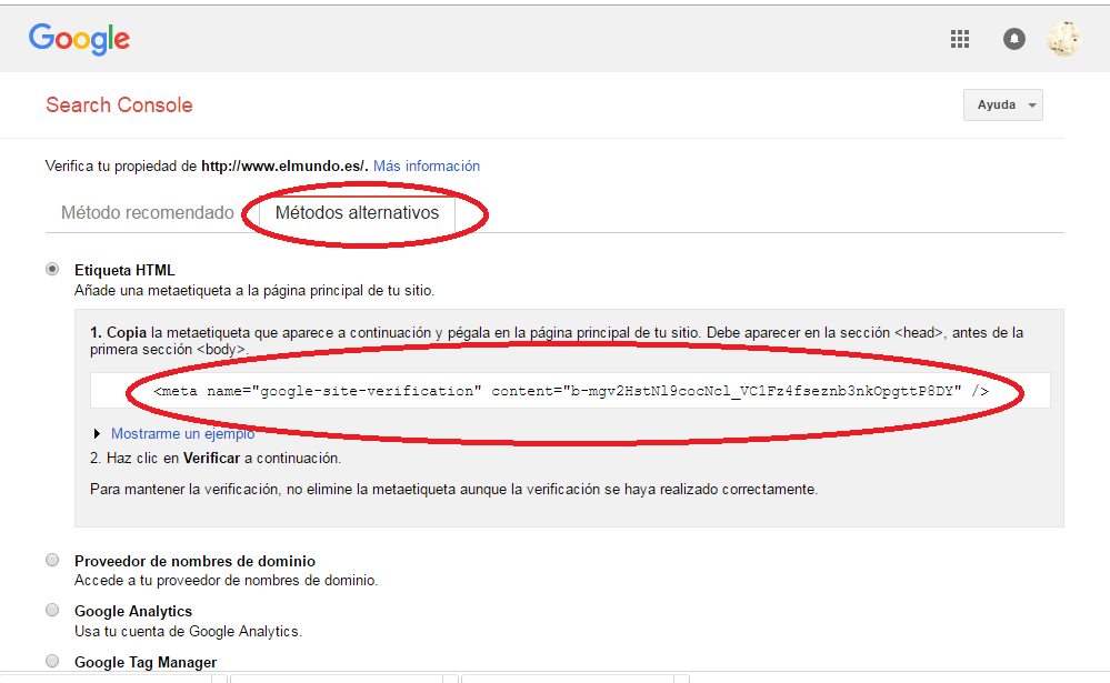 Verificar una propiedad en Google Webmaster Tools