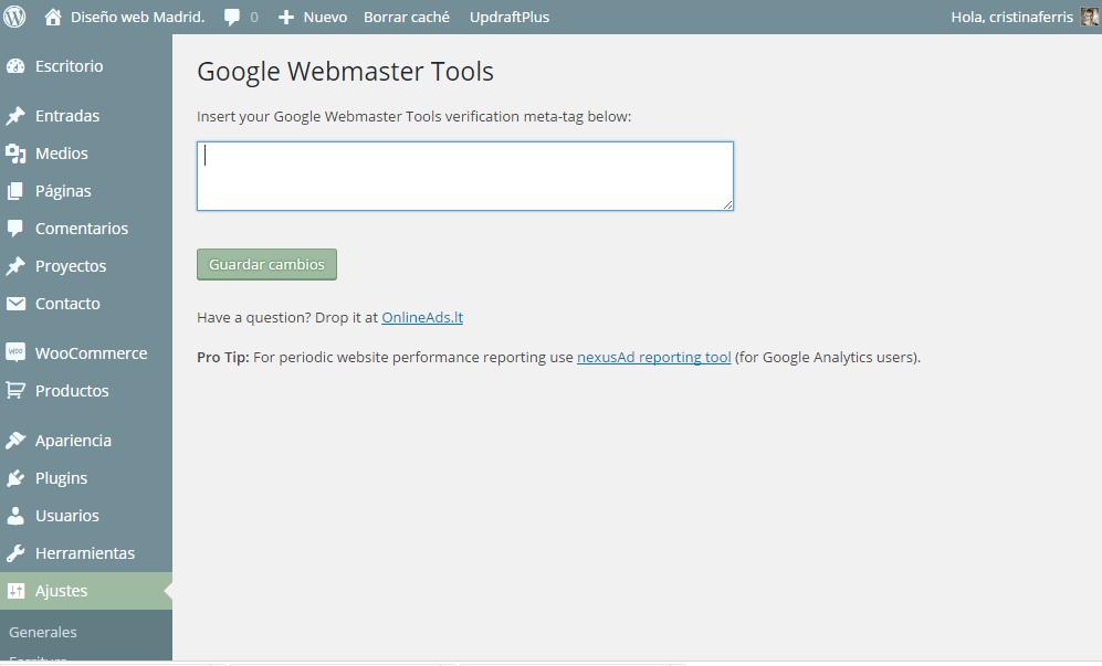 Etiqueta HTML para verificar un sitio web en Google Webmaster Tools